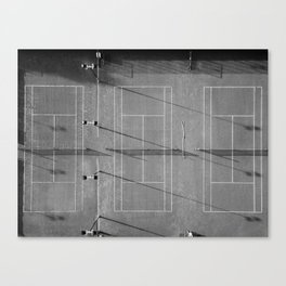 Grey tennis court at sunrise   black and white drone aerial photography art   sports field print Canvas Print