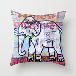 Pink elephant, colourful exotic Indian animal print Throw Pillow