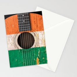 Old Vintage Acoustic Guitar with Irish Flag Stationery Cards