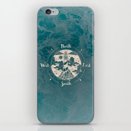 Lighthouse Compass Ocean Waves Gold iPhone Skin