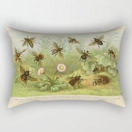 Vintage Bee Print Rectangular Pillow