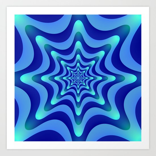 Blue Wave Circles Art Print