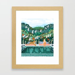 Chilling || #illustration #painting Framed Art Print