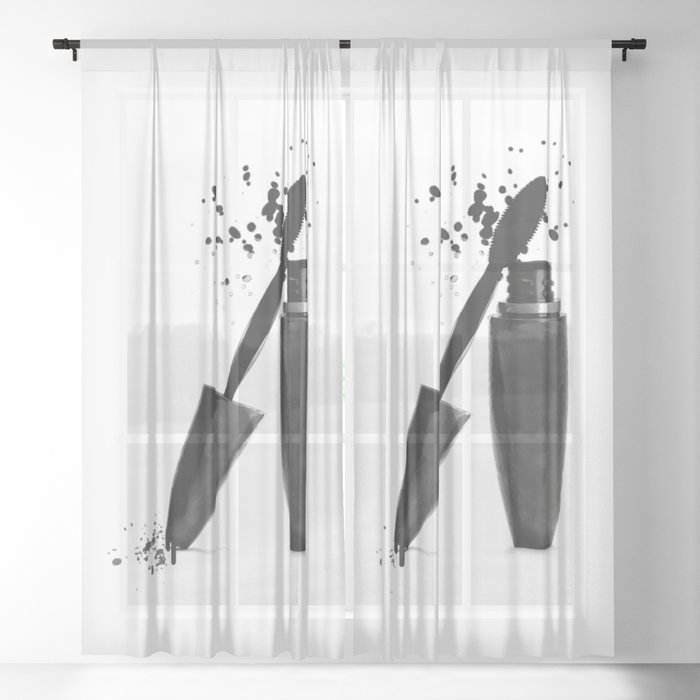 Black mascara fashion illustration Sheer Curtain