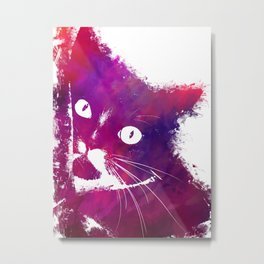 Purple cat Metal Print
