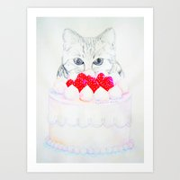 My sweet cat and my cake. Art Print