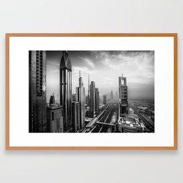 Dramatic Dubai skyline in black an white Framed Art Print