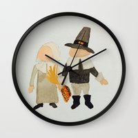 toddler Wall Clocks featuring Thanksgiving Pilgrim Toddler Girl and Boy Couple by PodArtist