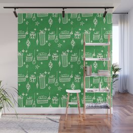 Christmas gift and ornaments Green and White Wall Mural