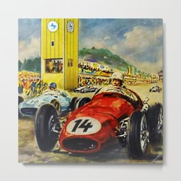 1957 Grand Prix Motor Racing Nurburgring Germany Vintage Advertising Poster Metal Print