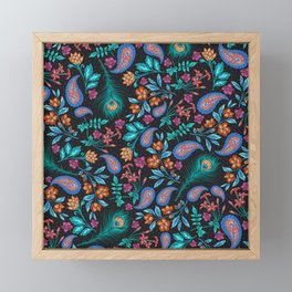 Asian-Inspired Peacock Feathers and Floral Pattern Framed Mini Art Print