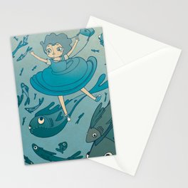 The puddle was an ocean full of fishes Stationery Cards