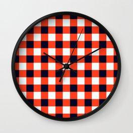 Orange Red Black White Classic Checkerboard Wall Clock