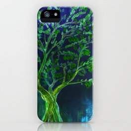 Green fruit tree with blue background iPhone Case