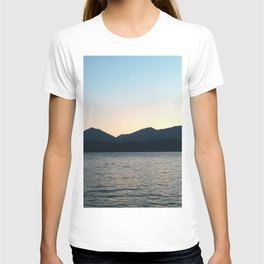 Sunset and Crescent Moon over the Water T-shirt