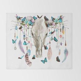 Butterfly Cow Skull Spirit Gazer Throw Blanket