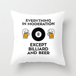 Billiard Billiards Cue Sports And Beer Throw Pillow