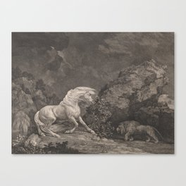 George Stubbs A Horse Affrighted by a Lion Black and White Vintage Ink Illustaration Fantasy Art Canvas Print