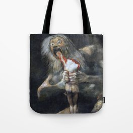 Francisco de Goya - Saturn Devouring His Son 1823 Artwork for Wall Art, Prints, Posters, Tshirts, Men, Women, Youth Tote Bag