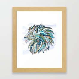 Zentangle head of the lion on the grunge background Framed Art Print
