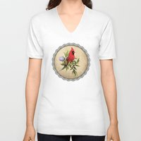 cardinal V-neck T-shirts featuring Cardinal by Ludovic Jacqz