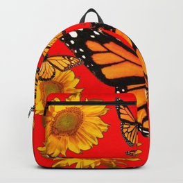 BUTTERFLIES & GOLDEN SUNFLOWERS ON CHINESE RED Backpack