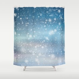 Snow Bokeh Blue Pattern Winter Snowing Abstract Shower Curtain