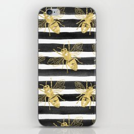 Golden bee noir iPhone Skin