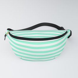 Pale Aquamarine and White Horizontal Deck Chair Stripes Fanny Pack