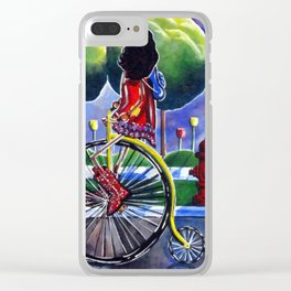 Riding Grandma's Antique Bike Bicycle Trees Fire Hydrant Dog Street Flowers Sidewalk Series Cowboy Clear iPhone Case