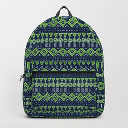 Mudcloth Style 2 in Navy with Lime Green Backpack
