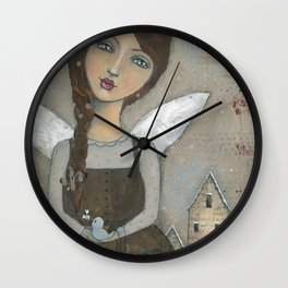 Home for the Holidays, Mixed Media Folk Art Girl by Kimberly Schulz Wall Clock