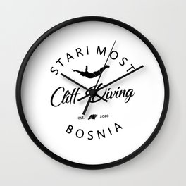 Cliff Jumping Shirt Bosnia Cliff Diver TShirt Stari Most Cliff Diving T Shirt Wall Clock