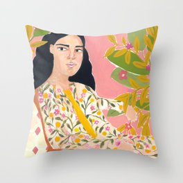Floral Lady Throw Pillow