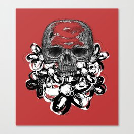 Skull with flowers   Black and white Canvas Print
