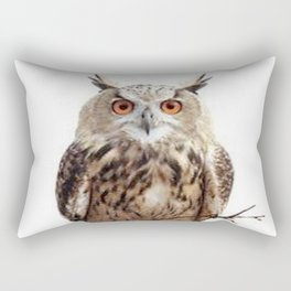 WILDERNESS BROWN OWL IN WHITE Rectangular Pillow