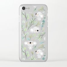 Koala and Eucalyptus Pattern Clear iPhone Case