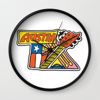 austin Wall Clocks featuring Austin TX by Brandon Ortwein