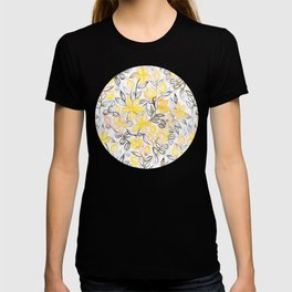 Sunny Yellow Crayon Striped Summer Floral T-shirt