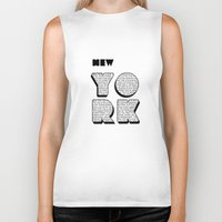 writing Biker Tanks featuring New York in writing by Shu | Formanuova