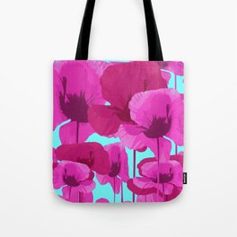 Sweet Pink Poppies On A Turquoise Background Tote Bag