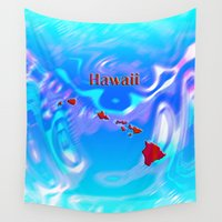 hawaii Wall Tapestries featuring Hawaii Map by Roger Wedegis