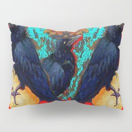 Crow-Ravens Family Red Southwest Style Abstract Pillow Sham