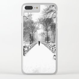 NYC Snow Day – Union Square Blizzard New York Clear iPhone Case