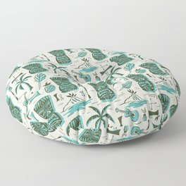 Tropical Tiki - Cream & Aqua Floor Pillow
