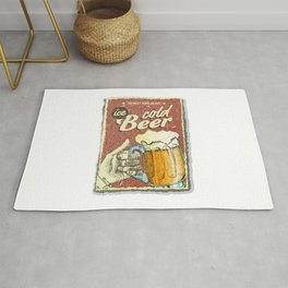 Cold beer antique distressed poster, for drinks lovers. Rug