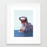 hippo Framed Art Prints featuring Hippo by MGNFQ