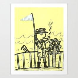 Lady Boat Captain Art Print