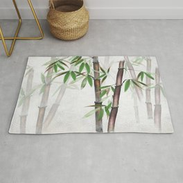 Bamboo Forest on patterned cloth Rug
