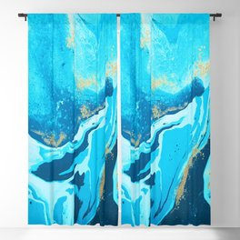 Blue Water color Gold glitters Blackout Curtain